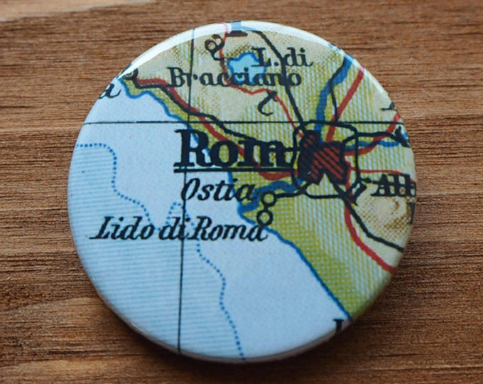 Pinback Button, Rome, Ø 1.5 Inch Badge, Atlas, Travel, vintage, fun, typography, whimsical
