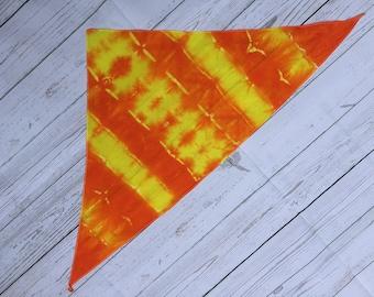 Orange and yellow tie dyed triangle cotton bandana