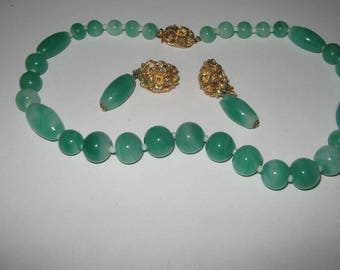 1960s Castlecliff Castle Cliff Earring and Necklace Vintage Costume Jewelry #e540