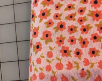 Half Yard cut of Timeless Treasures - Felicity - C4433 - in Blush - tiny coral flowers with gold leaves