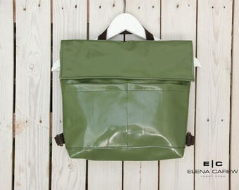 Green backpack, Green Vegan backpack, High School backpack, Military backpack, Shoulder bag faux leather