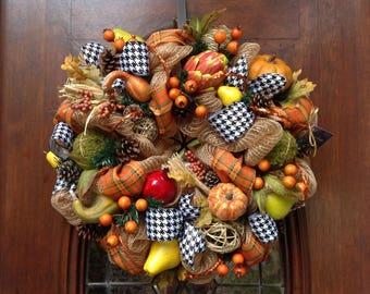Whimsical Fall Wreath or Centerpiece