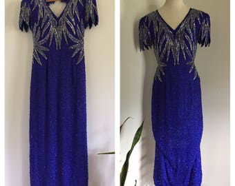 So Glam 80's Blue and Silver Sequin Full Length Short Petal Icicle Sleeve Party Dress M L