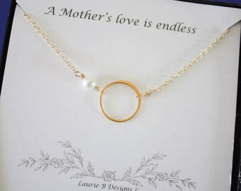3 Mother Necklace Gifts, Mother Karma Necklace, Thank You Card, White Pearl, Infinity Necklace, Gold Necklace Karma, Mother of the Bride