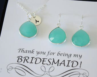 9 Monogram Bridesmaid Necklace and Earring set Green, Bridesmaid Gift, SeaFoam Gemstone, Sterling Silver, Initial Jewelry, Personalized