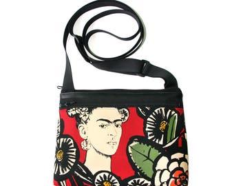 Frida Kahlo, red, boxy cross body, vegan leather, zipper top