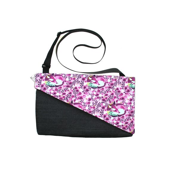 SALE! foxes, purple, Messenger bag, cross body bag