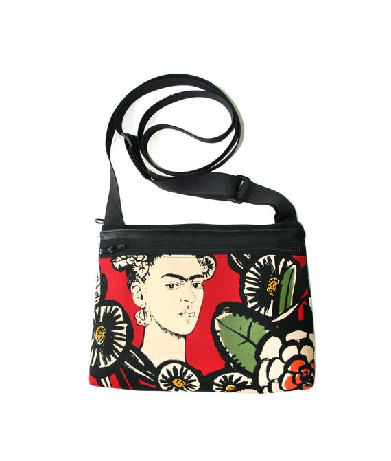 Frida Kahlo, red, boxy cross body, vegan leather, zipper top