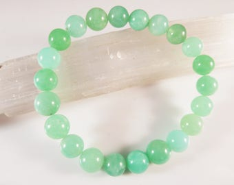 Chrysoprase Stretch Bracelet 8mm Genuine Translucent Mint Apple Light Green Smooth Round Gemstone Beads Natural Untreated High Quality AAA