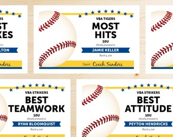 Editable Baseball Award Certificates - INSTANT DOWNLOAD PRINTABLE - Blue and Gold Yellow