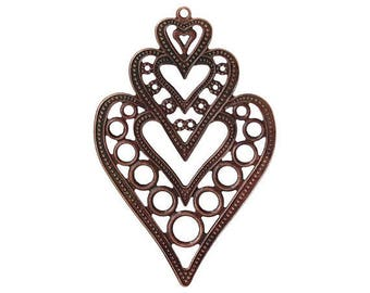 8pcs antique copper finish 8.5cm x 5.5cmcm filigree wraps/pendants-5530A