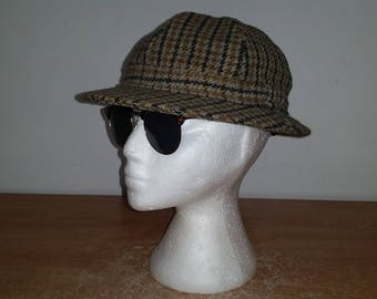 Men's Vintage Tweed Wool Blend Herringbone HECTOR RUSSELL Of Scotland Bucket Hat Cap Sz-Large
