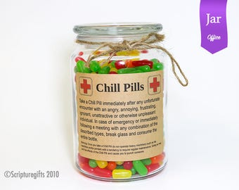 Funniest Chill Pill PROFESSIONALS Glass Apothecary Jar