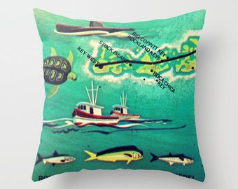 Key West Pillow Cover 18x18, Boca Chica, Key West Gifts, Florida Keys Pillow, Christmas Gifts for Her for him Vintage Illustrated Map Pillow