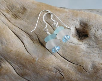 Genuine sea glass earrings.  Cornflower blue and white.  Sterling Silver French wires.  Hand gathered and un-altered beach glass