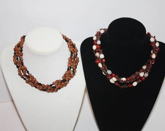 2 Vintage Nature Inspired Dyed Cherry Pit & Apple Seed Long Necklaces