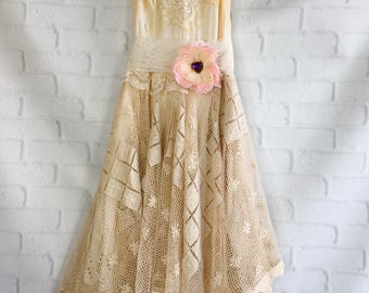 dark ivory tan & bisque crochet and knife pleat chiffon lace short boho wedding dress by mermaid miss k