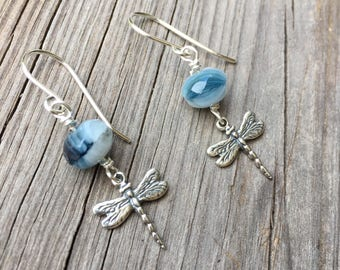 Dragonfly Earrings Dragonfly Jewelry Blue Earrings Sterling Silver Earrings Silver Earrings Cute Earrings Made in USA