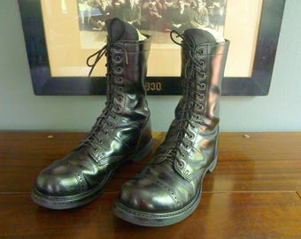 BEAUTIFUL Vintage Corcoran 975 10 Inch Black Leather Combat Military Paratrooper Jump Boots Size 10 1/2.  Made in USA.