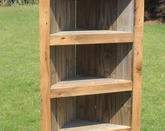 Rustic Bookcase, reclaimed wood Corner Bookcase, Corner Bookcase, Rustic Bookcase