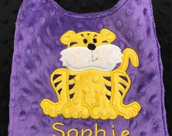Tiger Bib, LSU Tiger Bib, Purple Bib,