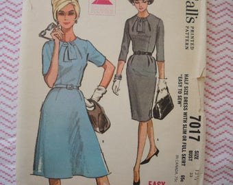 vintage 1960s McCalls sewing pattern 7017 misses dress with slim or full skirt size 12 1/2 uncut