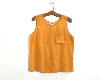 Minimal 80's SILK Blouse Boxy Tank Top Blouse Minimalist Blouse Vintage Silk Yellow Orange Sleeveless Shirt Medium Boho Chic Slouchy G2