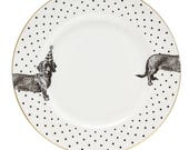Monochrome Party Pup Dinner Plate, White/Black, Dia.26cm