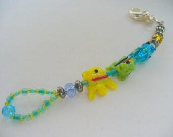 Fish Lampwork Purse Charm Dangle, Backpack Charm, Bag Charm, Fishes Keychain, Birthday Gift, Purse Accessory, Bag Accessory, Beach Keychain