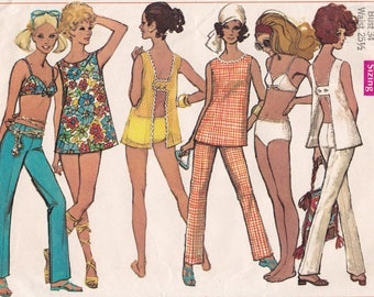 1960s Bikini Simplicity 8153 MOD Open H Back Top and Hip Huggers Vintage 60s Sewing Pattern, Size 12, Bust 34.5, Partly Cut