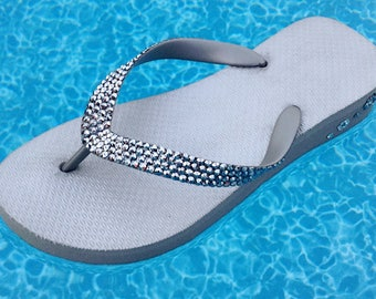 Custom Silver Gray Crystal 1.5 Wedge Flip Flops w/ Swarovski Bling Light Chrome Grey Cariris Brazilian Heel Shimmer Beach Shoe Glass Slipper