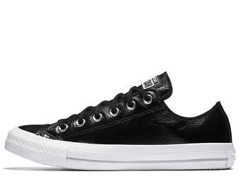 Custom Black Patent Leather Converse Low Top Sheen Jet w/ Swarovski Rhinestone Crystal Bling Chuck Taylor All Star Sneakers Trainer Shoes
