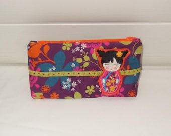 cute and girly pencil case / toiletry bag back to school for girl with kokeshi doll asian cat flowers  washable