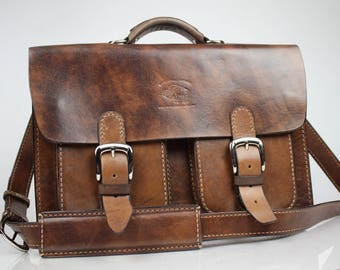 Leather Messenger Bag,  Leather Briefcase, Leather shoulder bag, fits Macbook Pro 143