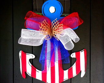 Anchor Door Hanger - Anchor Wreath - Anchor Decor - Nautical Decor - Patriotic Wreath | 4th of July Decor - Nautical Door Hanger