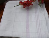 French Linen Table cover, Linen Table topper, Lilac and White, Checkered table cover, Square table cover, French linen, French country decor