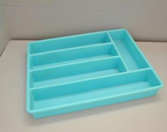 Turquoise Silverware Tray ~ Silverware Organizer ~ Flatware Tray ~ Mid Century ~ Vintage Kitchen ~ Kitchen Storage ~ Epsteam