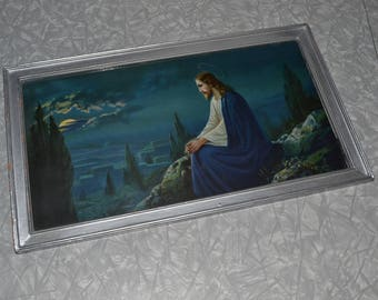 Jesus on Mt. Olive Lithograph Print ~ Religious Picture ~ Home Decor