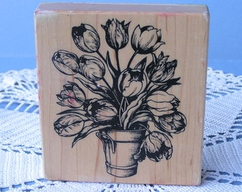 Vintage Flower Bucket Stamp . Tulips Stamp .  PSX K-1695 1991 . Designed in USA - Made in Taiwan . Wood Mounted . Used