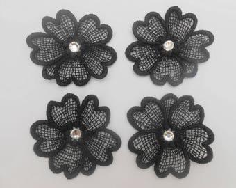 4 flowers in Black Lace with Swarovski Crystal rhinestones