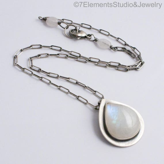 Teardrop Rainbow Moonstone and Satin Silver Pendant Necklace