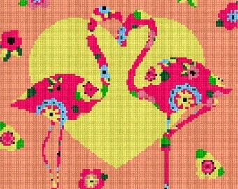 Needlepoint Kit or Canvas: Flamingo Art Deco