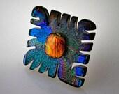 Art Glass Knob, Blue Green Purple Knob, Dichroic Glass Pull, Decorative Knob, Wall Art, Dog Leash Hanger, Jewelry or Scarf Holder
