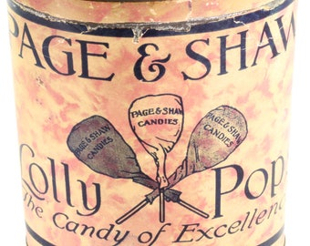 Antique Page and Shaw Lolly Pops Candy Tin Collectible Container Antique Candy Store Tin Container