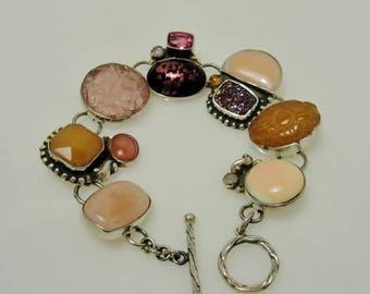 Beautiful Multi-stone Bracelet in Pinks Purples Set in Sterling Silver Estate Jewelry and Gift Boxed