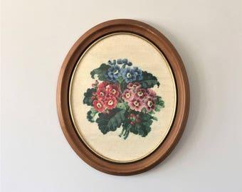 Vintage Floral Needlepoint, Oval Framed Needlework, Large African Violet Canvas, Embroidered Flower Clusters, Shabby Cottage Needlework