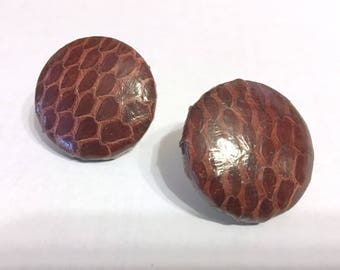 Vintage BURGUNDY LEATHER BUTTON-Earrings/pierced/post back