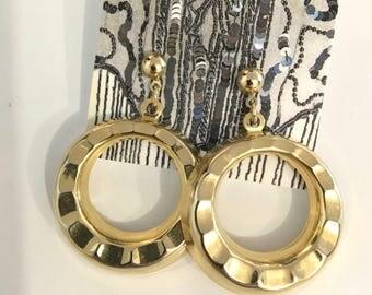 Vintage LARGE GOLD HOOP Drop-Earrings / One Size