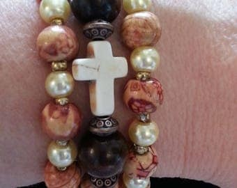 White Cross Pattern Wood Beads and White Pearls Gold Stacking Stretch Bracelets