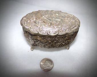 Vintage Trinket Box. Silver Tone Jewelry Box.  Victorian Lovers Trinket Box.  Old Ring Box.  1950s Trinket Box.  Asian Jewelry Box.